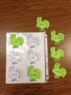 High Frequency Word Turkeys