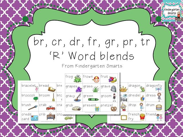 br, cr, dr, fr, gr, pr, tr, 'r' Word Blend Activty