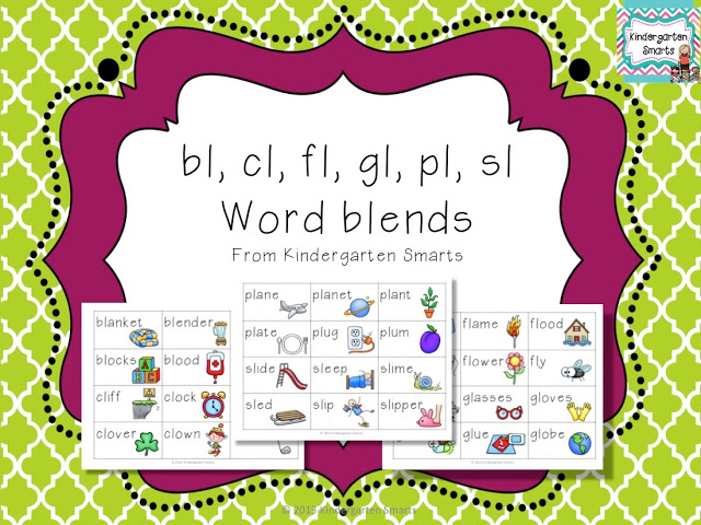 bl, cl, fl, gl, pl, sl 'L' Word Blend Activity
