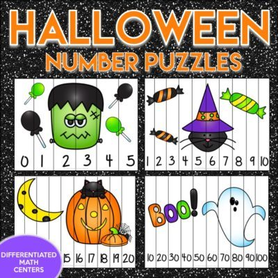 Halloween Counting Number Puzzles with 2 FREEBIES!!
