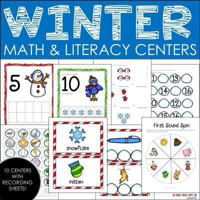 Winter Fun Literacy and Math Centers and FREEBIE