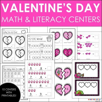 Valentine's Day Math and Literacy Centers with Printable Worksheets [and a Math Worksheet FREEBIE]