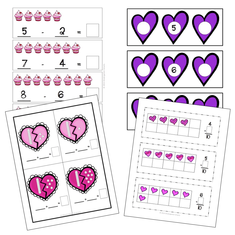 Valentines Day Math and Literacy Centers with Printable – February Math Worksheets