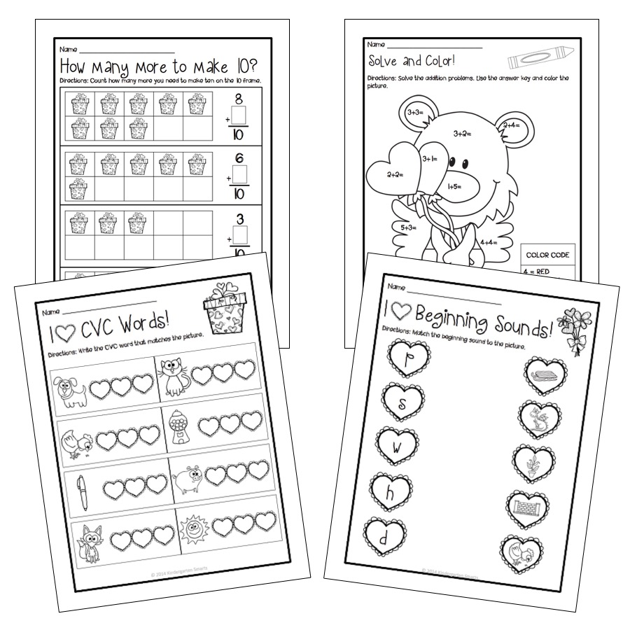 valentines day math and literacy centers with printable worksheets  slide