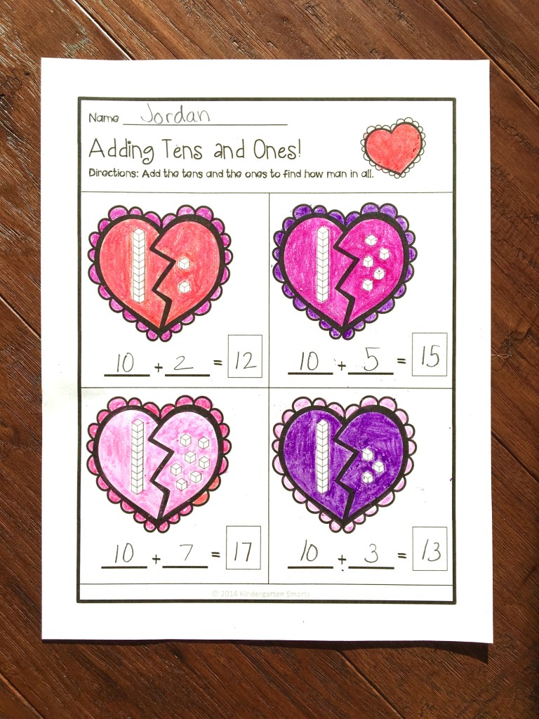 Valentine Easy Worksheets : Quick math worksheets valentine s day and literacy