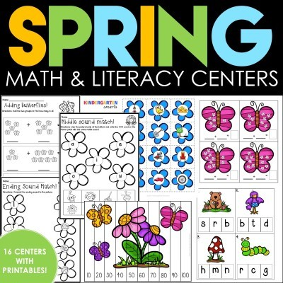 Spring Math and Literacy Centers plus a FREEBIE!