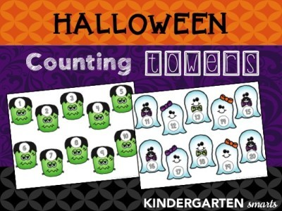 Halloween Counting Towers with a FREEBIE