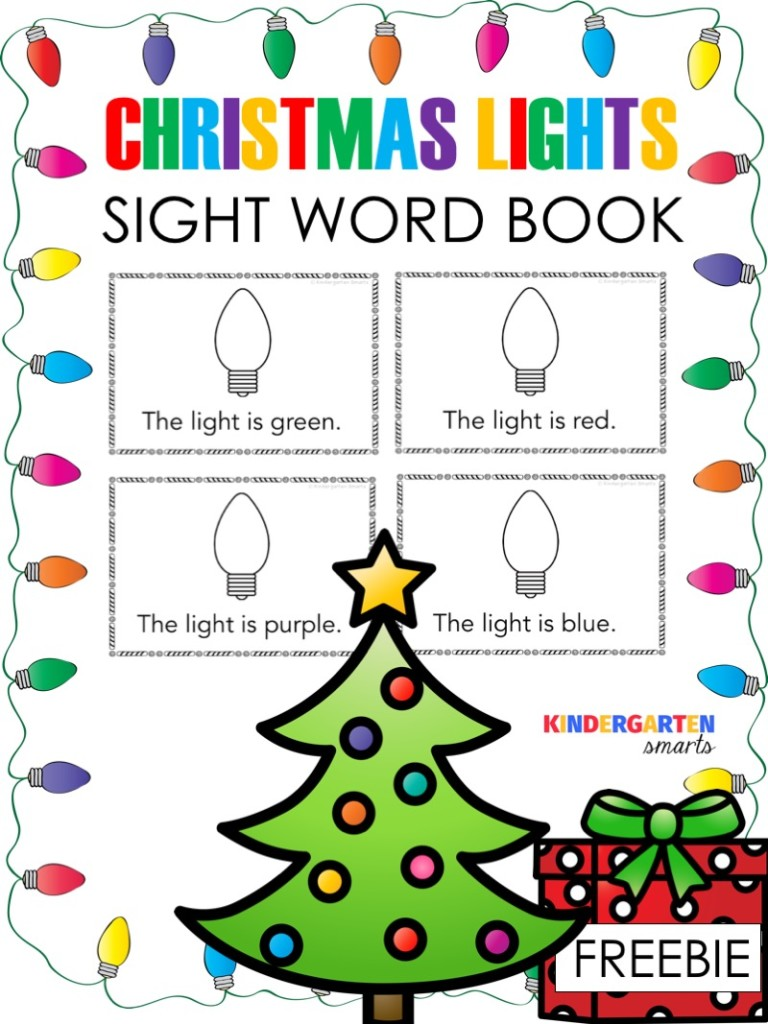 christmas sight word book with a freebie kindergarten smarts. Black Bedroom Furniture Sets. Home Design Ideas