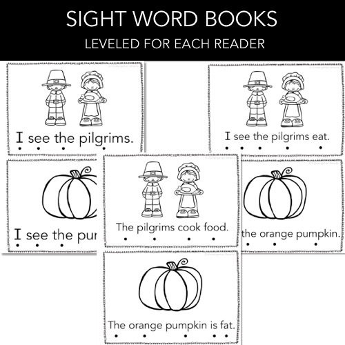 image relating to Sight Word Printable Books referred to as Thanksgiving Sight Term Guide with a FREEBIE - Kindergarten
