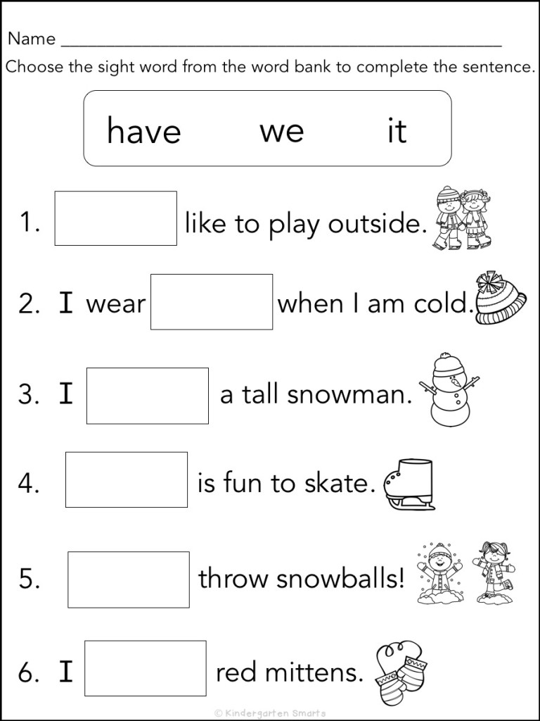 Winter Sight Word Book With A Freebie Kindergarten Smarts
