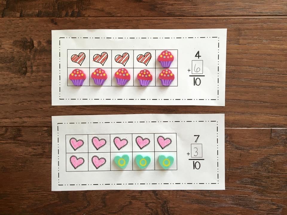 valentines math erasers