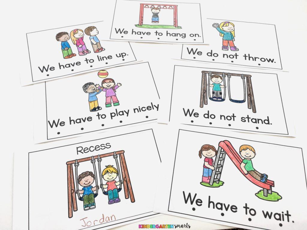 Playground Rules Flash Cards Kindergarten Smarts